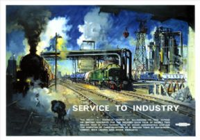 Service to Industry, Billingham. BR Vintage Travel Poster by Terence Cuneo